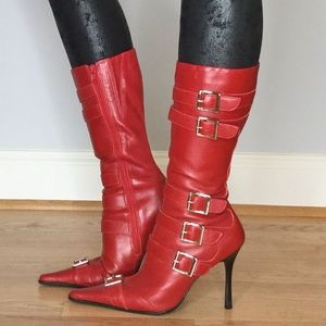 Bp vintage rocker red leather buckle boots